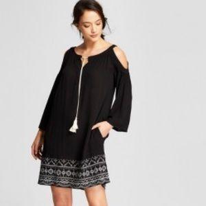 Cold Shoulder Embroidered Boho Shift Dress